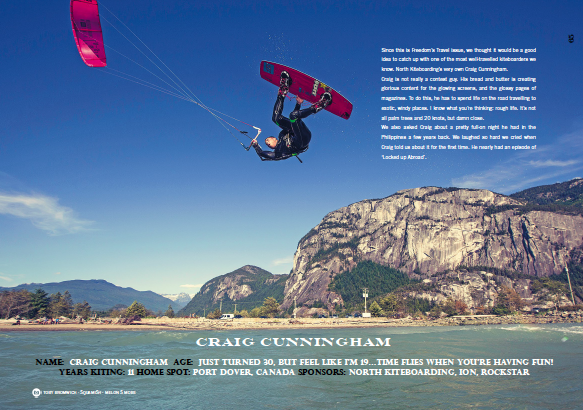 North Kiteboarding teamrider Craig Cunningham in Freedom Kitesurfing Magazine Issue 5 - The Travel Issue