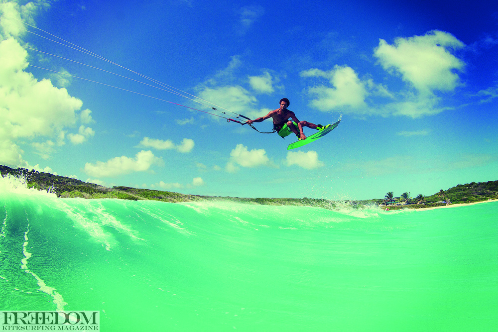 Andre Phillip kiteboarding in Antigua.