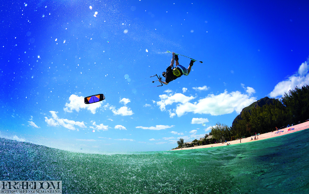 Andy Yates, Kitesurf, tail grab, kiteboard