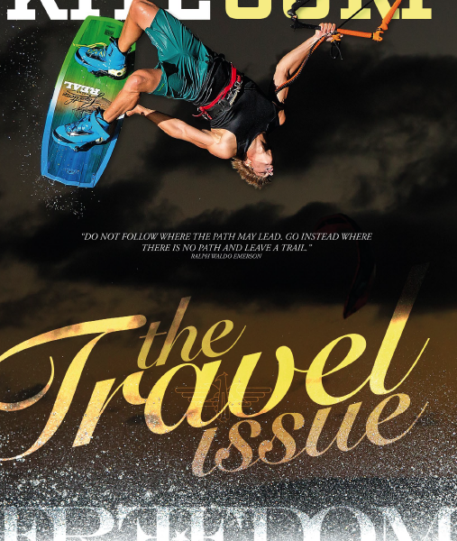Brandon Scheid Liquid Force team rider on the cover of Freedom Kitesurf Magazine