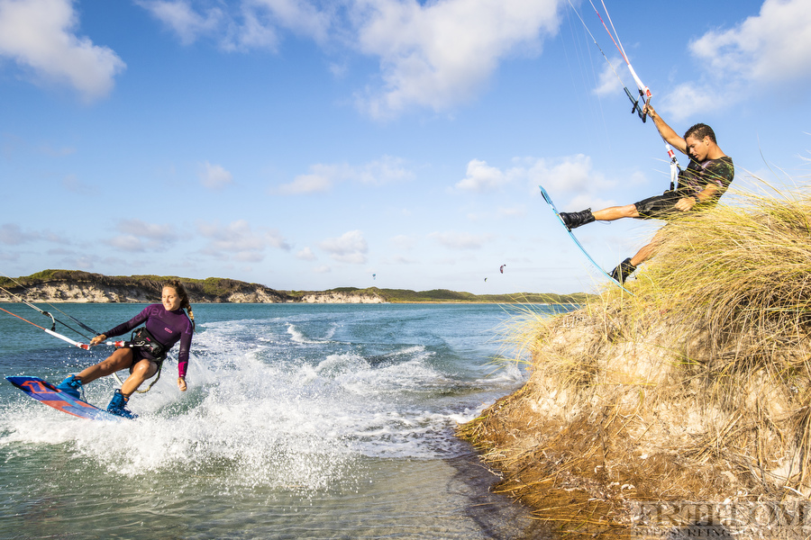 Colleen Carroll and Craig Cunningham kiteboarding in Western Australia.
