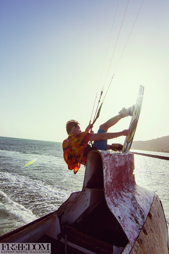 Getting up and out the top with a perfect melan grab. Union Island.