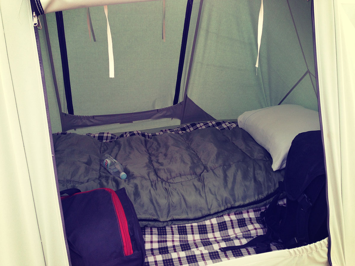 Inside the tent, nice n cosy