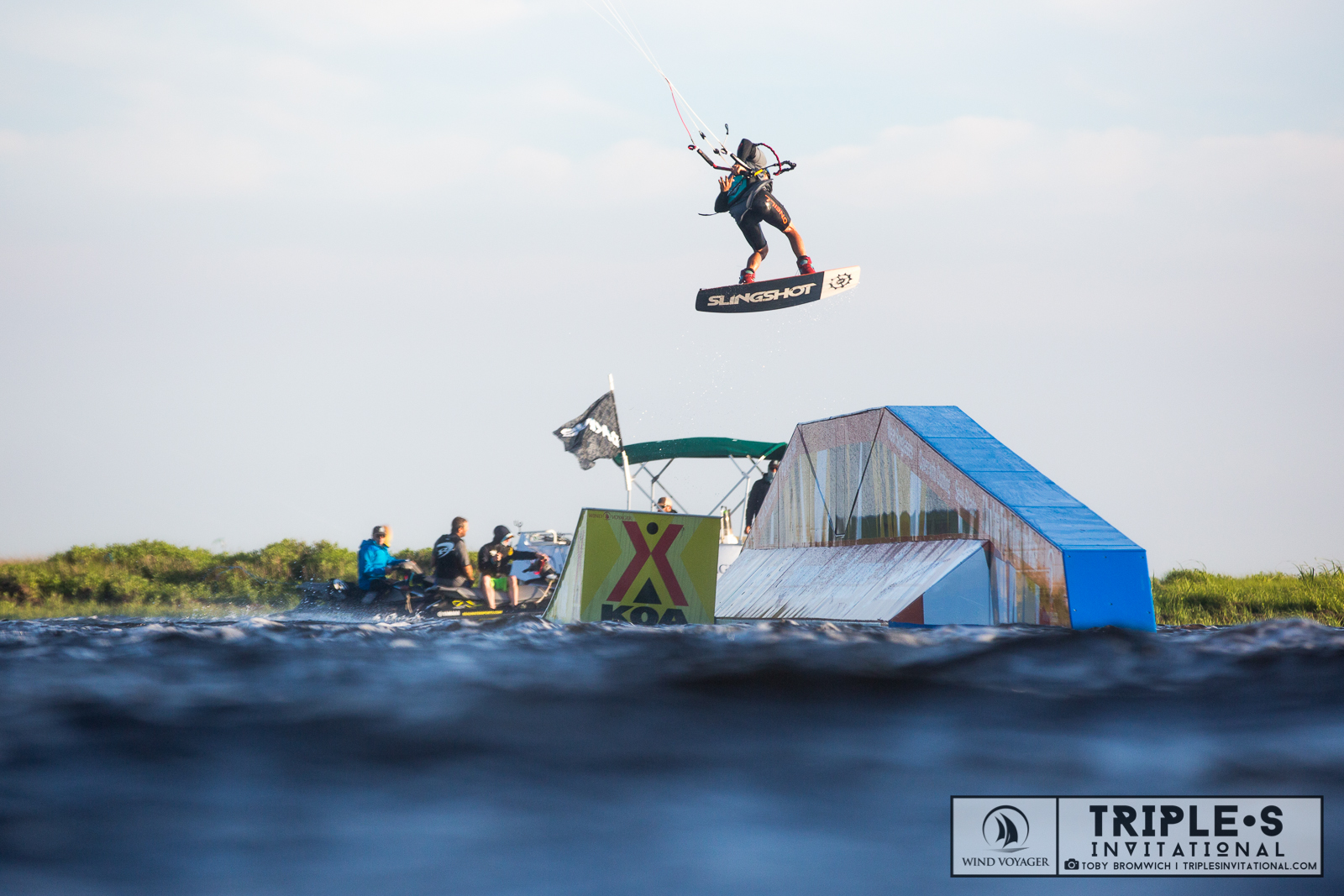 Sam Light Transferring Kicker to a-frame, 2016 Real Kiteboarding Triple S Invititational.